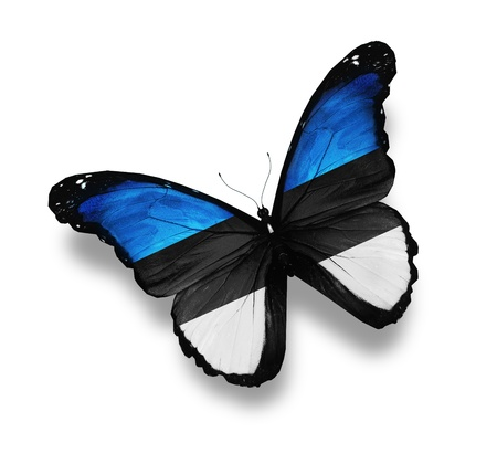 estonian: Estonian flag butterfly, isolated on white