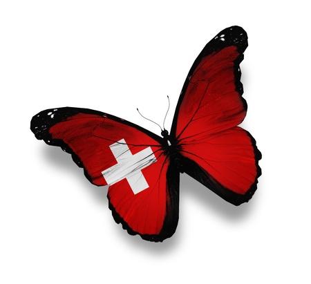 zwitserland vlag: Zwitserse vlag vlinder, geïsoleerd op wit