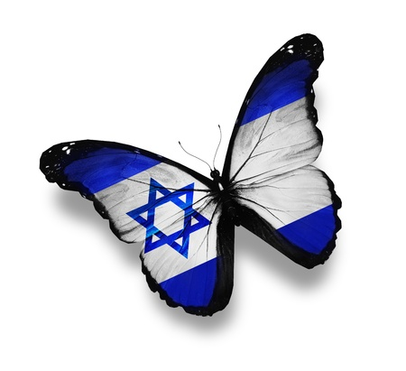 and israel: Israeli flag butterfly, isolated on white Stock Photo