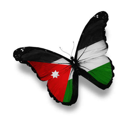 Jordanian flag butterfly, isolated on white photo