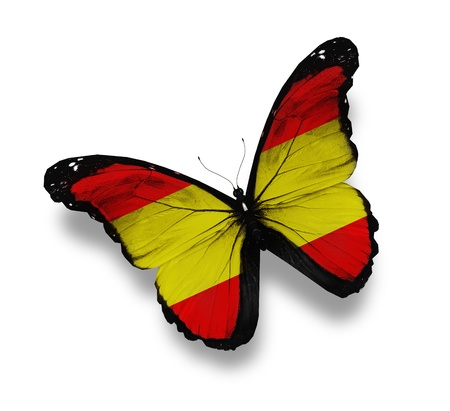 flag of spain: Spanish flag butterfly, isolated on white Stock Photo
