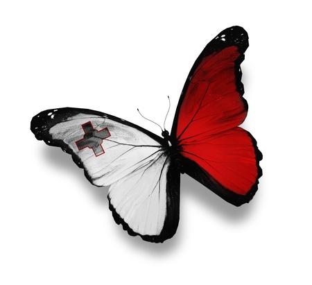 malta: Maltese flag butterfly, isolated on white