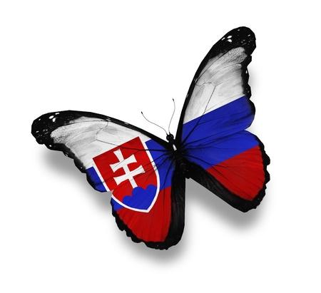 slovakia flag: Slovakian flag butterfly, isolated on white