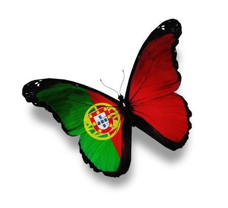 drapeau portugal: Portugaise drapeau papillon, isol� sur blanc