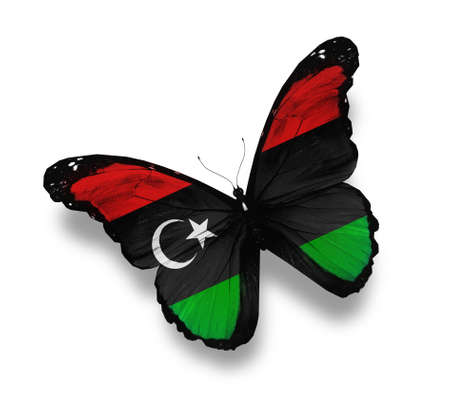 libyan: Libyan flag butterfly, isolated on white