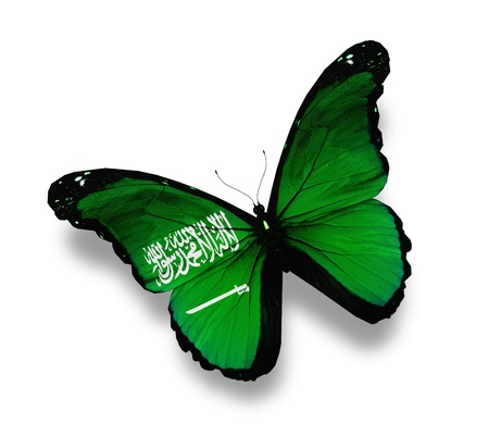 Flag of Saudi Arabia butterfly, isolated on white photo