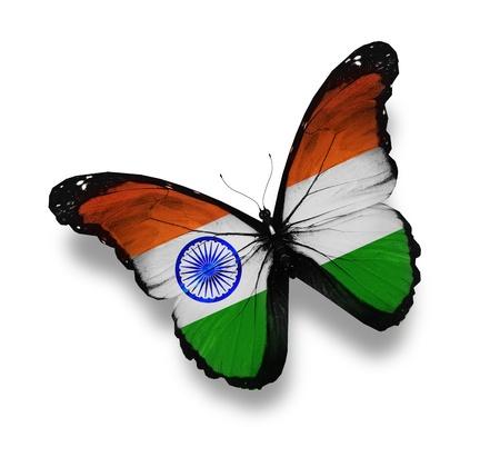 drapeau inde: Indien drapeau papillon, isol� sur blanc Banque d'images