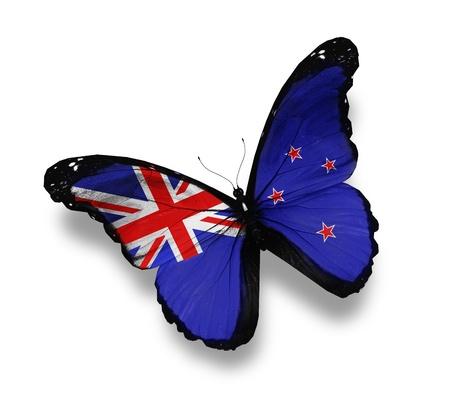 butterflies flying: Bandiera della Nuova Zelanda farfalla, isolato su bianco