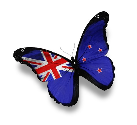 new zealand flag: Flag of New Zealand butterfly, isolated on white