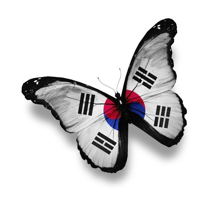 south korea: Flag of South Korea butterfly, isolated on white
