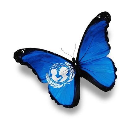 unicef: Bandiera di UNICEF farfalla, isolato su bianco Editoriali