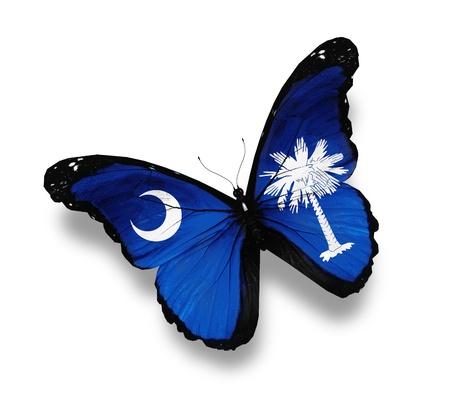 carolina del sur: Bandera de Carolina del Sur mariposa, aislado en blanco Foto de archivo