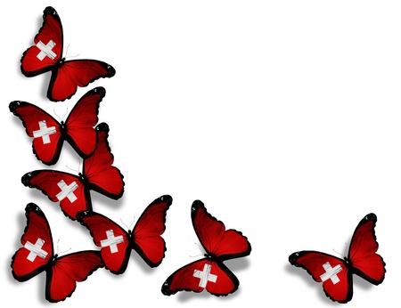 zwitserland vlag: Zwitserse vlag vlinders, geïsoleerd op witte achtergrond