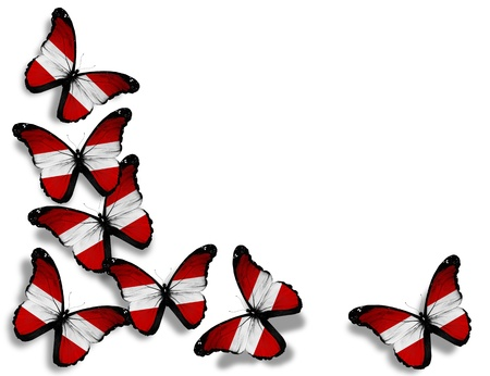 austrian: Austrian flag butterflies, isolated on white background Stock Photo