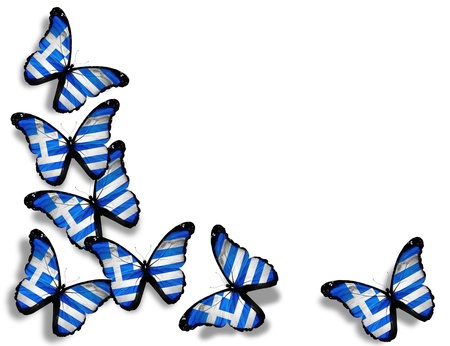 Greek flag butterflies, isolated on white background