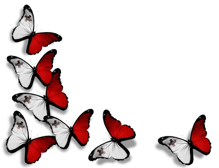 Malta: Maltese flag butterflies, isolated on white background Stock Photo