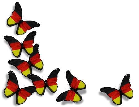 bandera alemania: Mariposas alemanes del pabell�n, aisladas sobre fondo blanco Foto de archivo