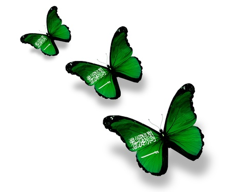 Three Saudi Arabia; flag butterflies, isolated on white photo
