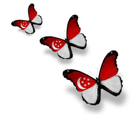 singaporean flag: Three Singaporean flag butterflies, isolated on white