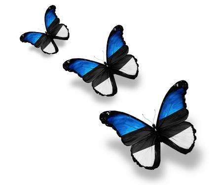estonian: Three Estonian flag butterflies, isolated on white
