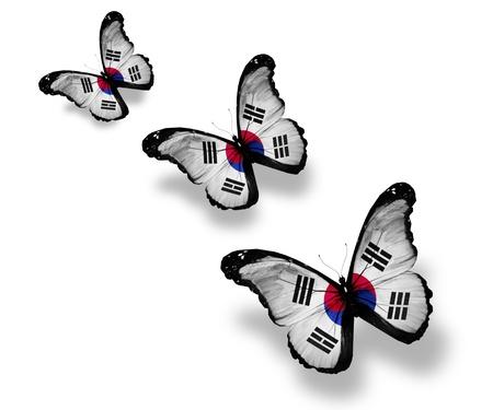 south korea flag: Three South Korea flag butterflies, isolated on white Stock Photo
