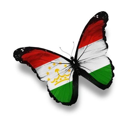 spring  tajikistan: Tagiko bandiera farfalla, isolato su bianco