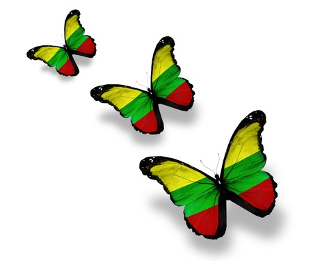 lithuania: Three Lithuanian flag butterflies, isolated on white