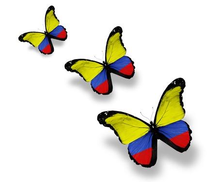la bandera de colombia: Tres mariposas de bandera colombiana, aislados en blanco