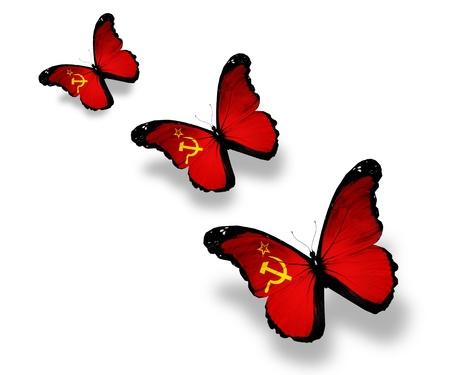 Three Soviet Union flag butterflies, isolated on white photo