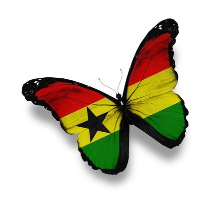 ghana: Ghana flag butterfly, isolated on white