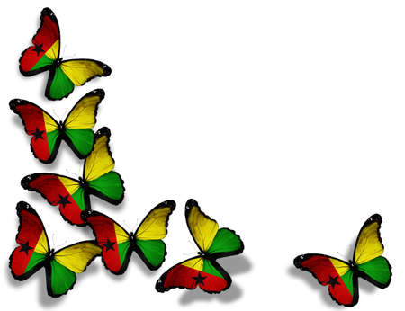 guinea bissau: Guinea-Bissau flag butterflies, isolated on white background