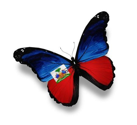 haiti: Haiti flag butterfly, isolated on white Stock Photo