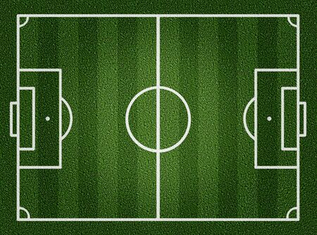 Football field or soccer field with white lines on grass  photo