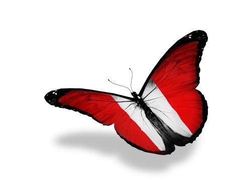 bandera peru: Per� pabell�n de mariposas volando, aislado en fondo blanco