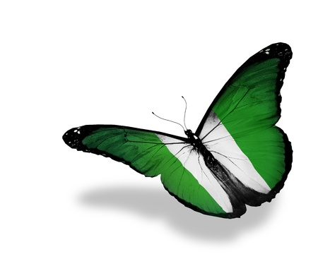 nigeria: Nigeria flag butterfly flying, isolated on white background