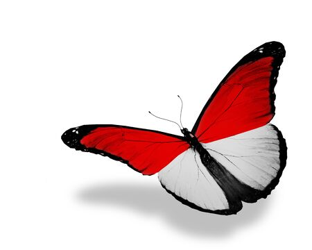 monegasque: Monegasque flag butterfly flying, isolated on white background