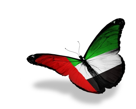 national animal:  UAE flag butterfly flying, isolated on white background