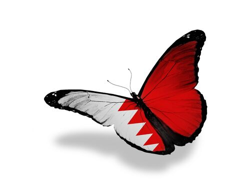 Bahraini flag butterfly flying, isolated on white background photo