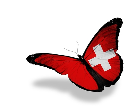 national: Swiss flag butterfly flying, isolated on white background