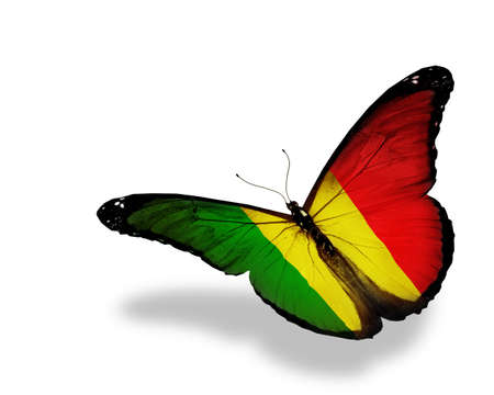 Mali flag butterfly flying, isolated on white background photo