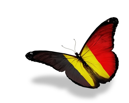 belgium: Belgian flag butterfly flying, isolated on white background Stock Photo