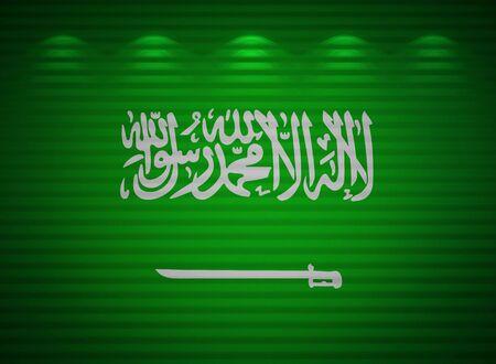 arabe: Arabia Saudita, la bandera de la pared, resumen de antecedentes Foto de archivo
