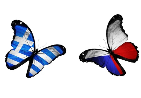penalty flag: Concept - two butterflies with Greek and Czech flags flying, like two football teams playing   Stock Photo