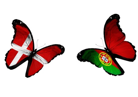 Concept - two butterflies with Danish and Portuguese flags flying, like two football teams playing   photo