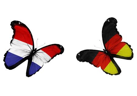 Concept - two butterflies with Netherlandish and German flags flying, like two football teams playing   photo