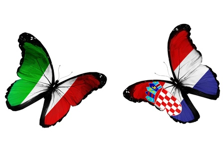 Concept - two butterflies with Italian and Croatian flags flying, like two football teams playing   photo