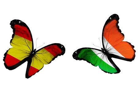 penalty flag: Concept - two butterflies with Spanish and Irish flags flying, like two football teams playing