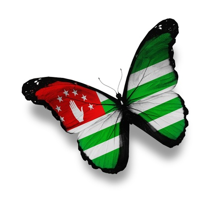 abkhazia: Abkhazia flag butterfly, isolated on white