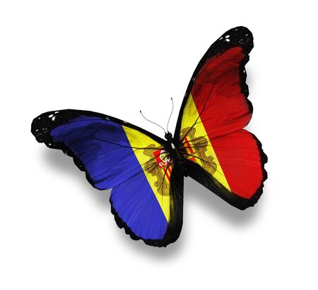 andorra: Andorra flag butterfly, isolated on white Stock Photo