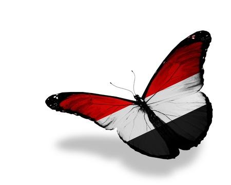 �rabe: Yemen del pabell�n de mariposas volando, aislado en fondo blanco